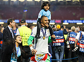 June 3rd 2017, National Stadium of Wales , Wales; UEFA Champions League Final, Juventus FC versus Real Madrid; Keylor Navas of Real Madrid celebrates at the end of the match with his family