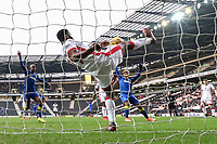Ethan Ebanks-Landell of MK Dons clears off the line during the Sky Bet League 1 match between MK Dons and AFC Wimbledon at stadium:mk, Milton Keynes, England on 13 January 2018. Photo by David Horn.