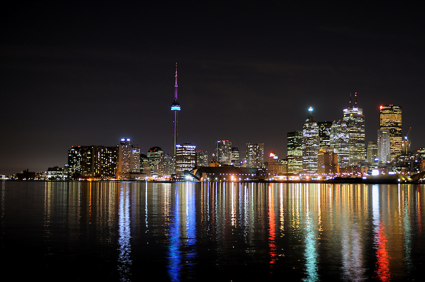 CN Tower and Toronto Harbor at Night as seen from the foot of Polson Street
