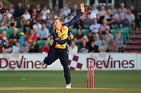 Simon Harmer in bowling action for Essex during Essex Eagles vs Somerset, Vitality Blast T20 Cricket at The Cloudfm County Ground on 7th August 2019