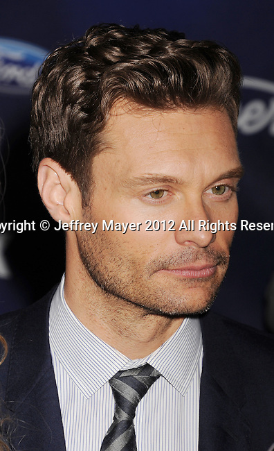 LOS ANGELES, CA - MARCH 01: Ryan Seacrest arrives at the American Idol Finalists party at The Grove Parking Structure Rooftop on March 1, 2012 in Los Angeles, California.