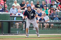 Brendan Rodgers (1) of the Asheville Tourists takes his lead off of third base against the Kannapolis Intimidators at Intimidators Stadium on May 28, 2016 in Kannapolis, North Carolina.  The Intimidators defeated the Tourists 5-4 in 10 innings.  (Brian Westerholt/Four Seam Images)