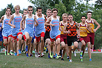 SIOUX FALLS, SD - SEPTEMBER 3: Lincoln's Nathan Schroeder, center, leads the pack at the Mack Butler Cross Country Invite Tuesday at Kuehn Park.  (Photo by Dave Eggen/Inertia)