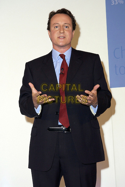 DAVID CAMERON .Launching his leadership campaign for the Conservative Party..September 29th, 2005.half length black suit.www.capitalpictures.com.sales@capitalpictures.com.© Capital Pictures.