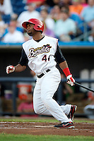 Quad Cities River Bandits outfielder Anthony Garcia #44 at bat during a game against the Cedar Rapids Kernels at Modern Woodmen Park on June 30, 2012 in Davenport, Illinois.  Quad Cities defeated Davenport 8-7.  (Mike Janes/Four Seam Images)
