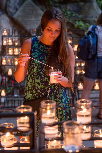 Jul. 23, 2015; ACE Prayer Service at the Grotto. (Photo by Matt Cashore/University of Notre Dame)