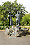 "Statues commemorating peasant uprising  of 1497, St Keverne, Lizard Peninsula, Cornwall, England, UK  the Cornish leaders, ""Michael An Gof"" and Thomas Flamank"