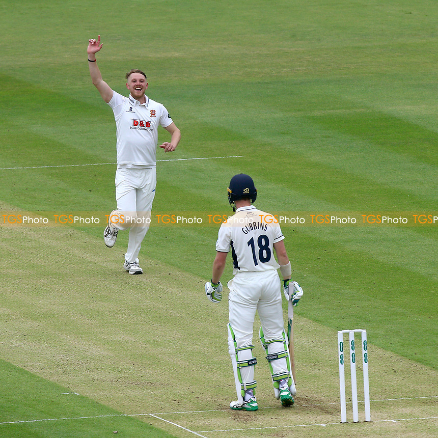Jamie Porter of Essex with an appeal for the wicket of Nick Gubbins during Middlesex CCC vs Essex CCC, Specsavers County Championship Division 1 Cricket at Lord's Cricket Ground on 21st April 2017