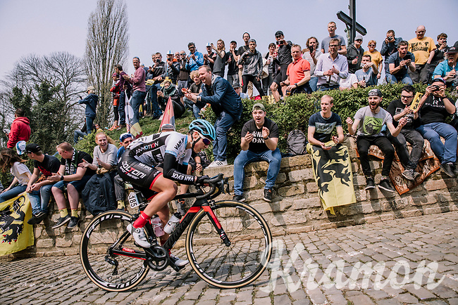 The first rider, Severine Eraud of Doltcini-Van Eyck Sport, up the Muur, 16th Ronde Van Vlaanderen<br /> <br /> Elite Womans Race (1.WWT)<br /> <br /> One day race from Oudenaarde to Oudenaarde<br /> ©Jojo Harper for Kramon