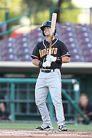Chris O'Dowd #24 of the Modesto Nuts bats against the Inland Empire 66ers at San Manuel Stadium on May 28, 2014 in San Bernardino, California. Modesto defeated Inland Empire, 3-2. (Larry Goren/Four Seam Images)