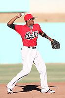 High Desert Mavericks infielder Mario Martinez # 32 during a game against the Bakersfield Blaze at Mavericks Stadium on July 17, 2011 in Adelanto,California. Bakersfield defeated High Desert 11-10.(Larry Goren/Four Seam Images)