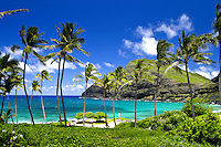 Beautiful Makapuu Beach and beach park,located along Oahu's east coast is one of Oahu's more scenic beaches.