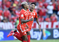 CALI - COLOMBIA, 15-02-2020: Yesus Cabrera del América celebra después de anotar el primer gol de su equipo partido por la fecha 5 de la Liga BetPlay DIMAYOR I 2020 entre América de Cali y Deportivo Independiente Medellín jugado en el estadio Pascual Guerrero de la ciudad de Cali. / Yesus Cabrera of America celebrates after scoring the first goal of his team during match for the for the date 5 as part of BetPlay DIMAYOR League I 2020 between America de Cali and Deportivo Independiente Medellin played at Pascual Guerrero stadium in Cali. Photo: VizzorImage / Gabriel Aponte / Staff