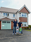 Cardiff Blues, Wales and British and Irish Lions player Alex Cuthbert and Cardiff Blues Rhys Williams with Ralph and Kyan Thomas<br /> <br /> Redrow Homes Official opening of  at Belle View at Mon Bank Newport with Cardiff Blues Players Alex Cuthbert and Rhys Williams - Newport <br /> <br /> &copy; www.sportingwales.com- PLEASE CREDIT IAN COOK