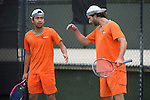 April 25, 2014; San Diego, CA, USA; Pepperdine Waves player Francis Alcantara (left) and Alex Sarkissian (right) during the WCC Tennis Championships at Barnes Tennis Center.