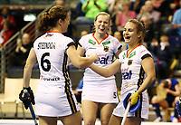 Luisa Steindor, Viktoria Huse, Lisa Altenburg    celebration   goal<br /> / Sport / Hockey Hnhockey / World Championships Weltmeisterschaft Damen /  2017/2018 / 07.02.2018 / GER BRGermany vs. Russland  *** Local Caption *** © pixathlon<br /> Contact: +49-40-22 63 02 60 , info@pixathlon.de