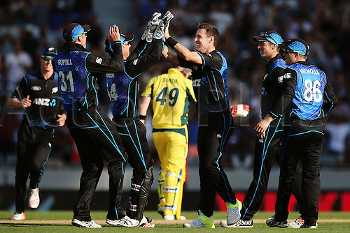03.02.2016. Auckland, New Zealand.  Matt Henry of New Zealand celebrates his wicket of Steven Smith of Australia. ANZ International Series, 1st Chappell-Hadlee Trophy ODI between New Zealand Back Caps and Australia at Eden Park in Auckland, New Zealand.