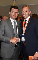 NZ Football CEO Andy Martin and Local Organising Committee CEO, Dave Beeche. Official Draw for the FIFA U 20 Football World Cup, New Zealand 2015. Sky City, Auckland. Tuesday 10 February 2015. Copyright photo: Andrew Cornaga / www.photosport.co.nz