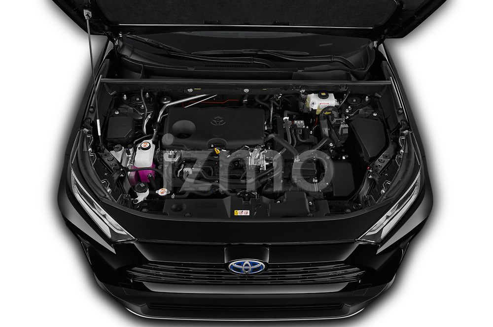 Car Stock 2019 Toyota RAV4 Premium-hybrid 5 Door SUV Engine  high angle detail view