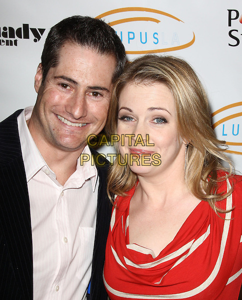 "GUEST & MELISSA JOAN HART. Lupus LA Raises Awareness with ""Get Lucky for Lupus"" held At Andaz Hotel, West Hollywood, California, USA..February 25th, 2010.headshot portrait red white stripe shirt black jacket shirt.CAP/ADM/KB.©Kevan Brooks/AdMedia/Capital Pictures."