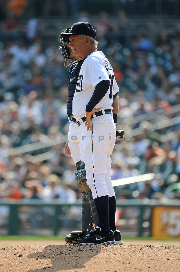 JIM LEYLAND, of the Detroit Tigers, in action during the Tigers game against the Kansas City Royals on April 10, 2011 at Comerica Park in Detroit, Michigan.  The Royals beat the Tigers 9-0.