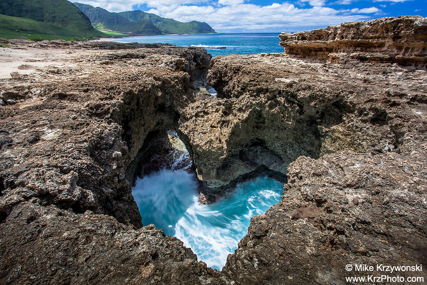 Heart shaped tidal pool on the west side of Oahu