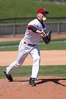 Wisconsin Timber Rattlers pitcher Josh Uhen (31) throws to first base during a game against the Cedar Rapids Kernels on April 23rd, 2015 at Fox Cities Stadium in Appleton, Wisconsin.  Cedar Rapids defeated Wisconsin 3-0.  (Brad Krause/Four Seam Images)