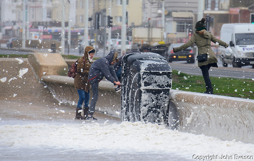 Sea foam whipped up by 90 mph winds at Blackpool, Lancashire during storm Doris.