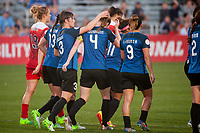 Kansas City, MO - Saturday May 27, 2017: Becca Moros, Becky Sauerbrunn, Lo'eau Labonta, celebrate, celebration during a regular season National Women's Soccer League (NWSL) match between FC Kansas City and the Washington Spirit at Children's Mercy Victory Field.