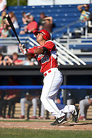 Batavia Muckdogs catcher Brad Haynal (23) hits his first pro home run during a game against the State College Spikes on June 22, 2014 at Dwyer Stadium in Batavia, New York.  State College defeated Batavia 10-3.  (Mike Janes/Four Seam Images)