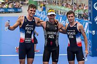 Ryan Sissons of New Zealand, Simon Viain of France and Raphael Montoya of France during the 2017 Madrid ITU Triathlon World Cup in Madrid, May 28, 2017. Spain.. (ALTERPHOTOS/Rodrigo Jimenez) /NortePhoto.com