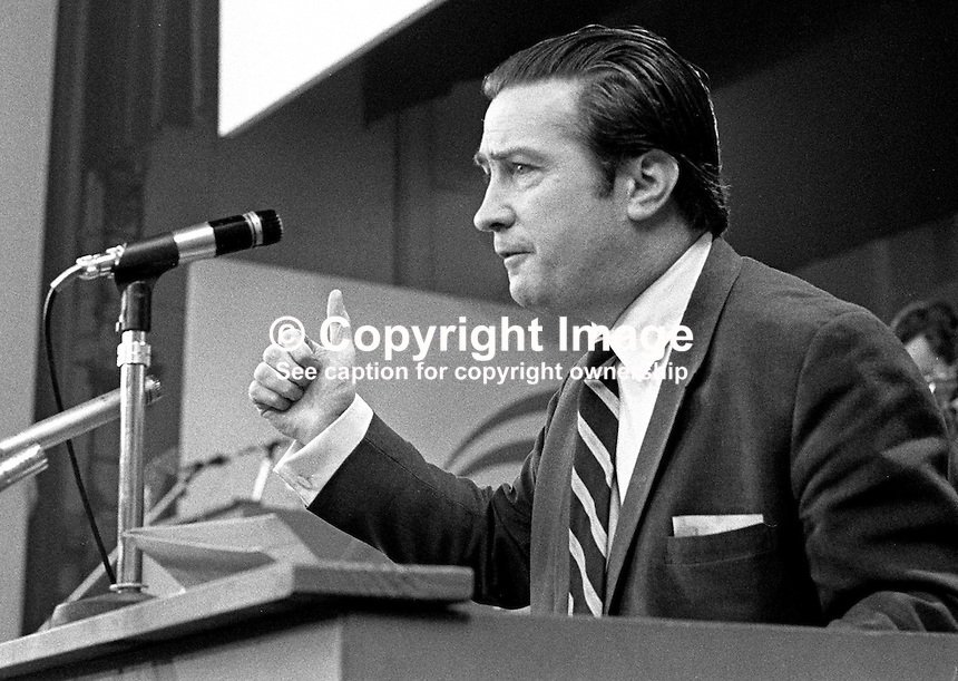 Justin Keating, TD, addressing conference, Labour Party, Rep of Ireland, February 1973. As well as being a politician he was a broadcaster, journalist, lecturer, veterinary surgeon, and humanist. 197302000132a.<br />