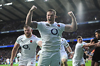 Chris Ashton of England shows how much it means to score a dramatic try during the Quilter International match between England and New Zealand at Twickenham Stadium on Saturday 10th November 2018 (Photo by Rob Munro/Stewart Communications)