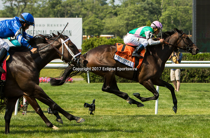 ELMONT, NY - JUNE 10: Antonoe #7, ridden by Javier Castellano, wins the Longines Just a Game Stakes on Belmont Stakes Day at Belmont Park on June 10, 2017 in Elmont, New York (Photo by Sue Kawczynski/Eclipse Sportswire/Getty Images)
