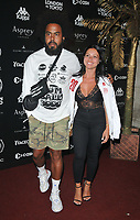 Jillionaire (Christopher Leacock) and Christine Spagnuolo at the 2018 Gumball 3000 Rally launch party, Proud Embankment, Victoria Embankment, London, England, UK, on Saturday 04 August 2018.<br /> CAP/CAN<br /> &copy;CAN/Capital Pictures
