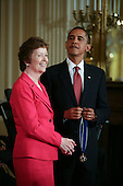 Washington, DC - August 12, 2009 -- United States President Barack Obama (R) presents former President of Ireland and former UN High Commissioner for Human Rights Mary Robinson the 2009 Medal of Freedom.  The award is the highest honor a civilian can achieve for being recognized for their outstanding achievements in life. The award were given to Stephen Hawking, Ted Kennedy, Billie Jean King, Harvey Milk (posthumously) , Sandra Day O'Connor, Desmond Tutu, Dr. Pedro Jose Greer, Nancy Goodman Brinker, Jack Kemp (posthumously), Reverend Joseph Lowery, Dr. Joseph Medicine Crow, Mary Robinson, Janet Davison Rowley, Dr. Muhammad Yunus, Chita Rivera, and Sidney Poitier. .Credit: Gary Fabiano / Pool via CNP