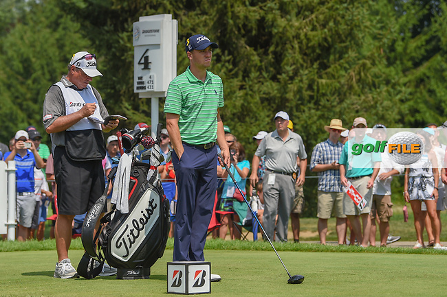 Justin Thomas (USA) looks over his tee shot on 4 during 4th round of the World Golf Championships - Bridgestone Invitational, at the Firestone Country Club, Akron, Ohio. 8/5/2018.<br /> Picture: Golffile | Ken Murray<br /> <br /> <br /> All photo usage must carry mandatory copyright credit (© Golffile | Ken Murray)