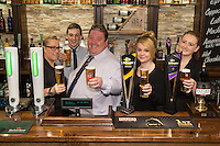 Pictured from left are   Rachael Weaver,  Ben Lovegrove,owner Michael Perry, Samantha Adams, and Lois Hayes at The Fountain Bridge carvery restaurant and pub in Kirkby in Ashfield, Nottinghamshire.