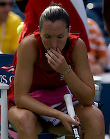 Jelena Jankovic (SRB) (5) against Yaroslava Shvedova (KAZ) in the second round. Shvedova beat Jankovic 6-3 6-7 7-6 ..International Tennis - US Open - Day 3 Wed 02 Sep 2009 - USTA Billie Jean King National Tennis Center - Flushing - New York - USA ..© Frey, Advantage Media Network, Level 1, Barry House, 20-22 Worple Road, London, SW19 4DH +44 208 947 0100..