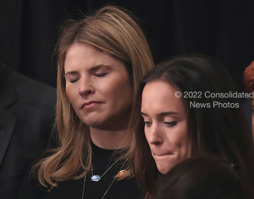 Jenna Bush Hager (L) stands with mourners during an arrival service for former U.S. President George H.W. Bush, her grandfather, in the U.S. Capitol Rotunda in Washington, U.S., December 3, 2018. REUTERS/Jonathan Ernst/Pool