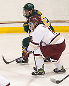 Brady Shaw (UVM - 22), Jesper Mattila (BC - 8) - The visiting University of Vermont Catamounts tied the Boston College Eagles 2-2 on Saturday, February 18, 2017, Boston College's senior night at Kelley Rink in Conte Forum in Chestnut Hill, Massachusetts.Vermont and BC tied 2-2 on Saturday, February 18, 2017, Boston College's senior night at Kelley Rink in Conte Forum in Chestnut Hill, Massachusetts.