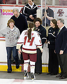 Michele Kurth, Richard Kurth, Katelyn Kurth (BC - 14), Courtney Kennedy (BC - Assistant Coach), Katie King (BC - Head Coach), Tom Peters - The Boston College Eagles and the visiting University of New Hampshire Wildcats played to a scoreless tie in BC's senior game on Saturday, February 19, 2011, at Conte Forum in Chestnut Hill, Massachusetts.