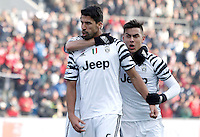Calcio, Serie A: Sassuolo vs Juventus. Reggio Emilia, Mapei Stadium, 29 gennaio 2017. <br /> Juventus&rsquo; Sami Khedira, center, celebrates with teammates Miralem Pjanic, partially seen at left, and Paulo Dybala, after scoring during the Italian Serie A football match between Sassuolo and Juventus at Reggio Emilia's Mapei stadium, 29 January 2017.<br /> UPDATE IMAGES PRESS/Isabella Bonotto