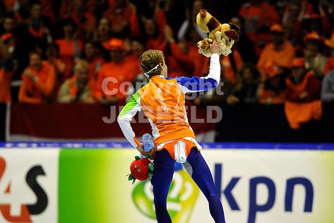 HEERENVEEN - Schaatsen, WK afstanden, Tialf stadion, 10.000 meter mannen, seizoen 2011-2012, 24-3-2012 Jorrit Bergsma