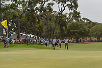Tiger Woods (USA) steps onto the 18th green to the roar of the crowd during round 3 of The Players Championship, TPC Sawgrass, at Ponte Vedra, Florida, USA. 5/12/2018.<br /> Picture: Golffile | Ken Murray<br /> <br /> <br /> All photo usage must carry mandatory copyright credit (&copy; Golffile | Ken Murray)