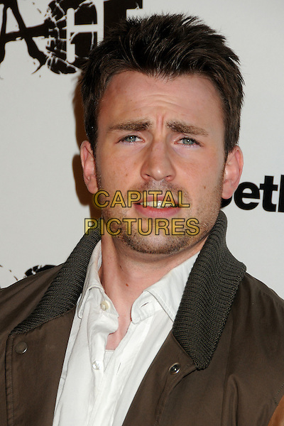 """Chris Evans.""""Rage"""" Video Game Launch Party held in Chinatown's Historical Central Plaza, Los Angeles, California, .30th September 2011..portrait headshot  white shirt .CAP/ADM/BP.©Byron Purvis/AdMedia/Capital Pictures."""
