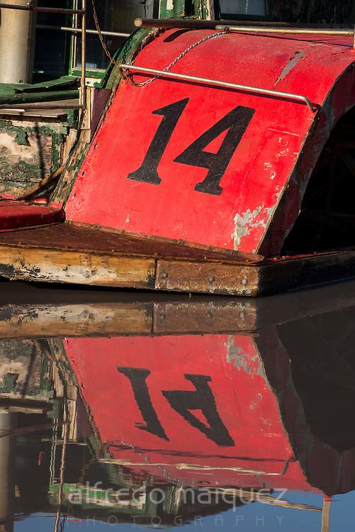 Old boat reflex at sea salt marsh, Salt industry. Torrevieja. Alicante. Spain