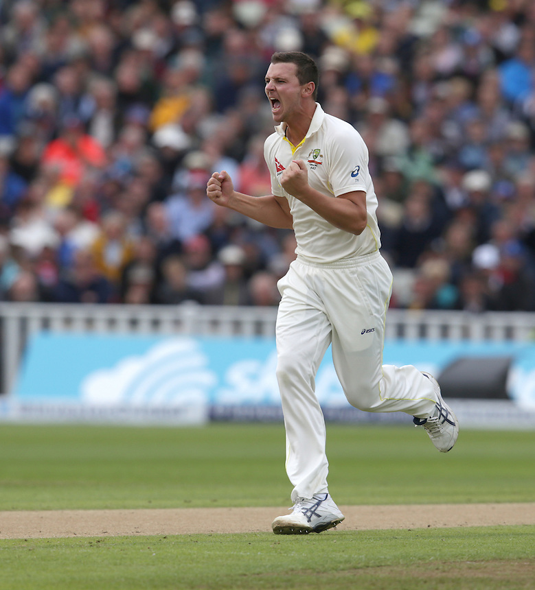 Australia's Josh Hazlewood celebrates taking the wicket of England's Adam Lyth - A Lyth c Voges b Hazlewood 10<br /> <br /> Photographer Stephen White/CameraSport<br /> <br /> International Cricket - Investec Ashes Test Series 2015 - Third Test - England v Australia - Day 1 - Wednesday 29th July 2015 - Edgbaston - Birmingham <br /> <br /> &copy; CameraSport - 43 Linden Ave. Countesthorpe. Leicester. England. LE8 5PG - Tel: +44 (0) 116 277 4147 - admin@camerasport.com - www.camerasport.com