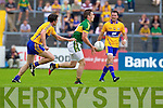 Stephen O'Brien, Kerry in action against Gordon Kelly, Clare in the Munster Senior Championship Semi Final in Cusack Park, Ennis on Sunday.