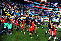 The teams walk out for the 2017 Rugby League World Cup quarterfinal match between New Zealand Kiwis and Fiji Bati at Wellington Regional Stadium in Wellington, New Zealand on Saturday, 18 November 2017. Photo: Dave Lintott / lintottphoto.co.nz